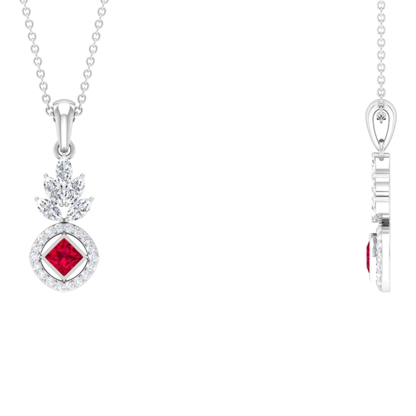 1 CT Ruby Dangle Pendant with White Diamond Accent