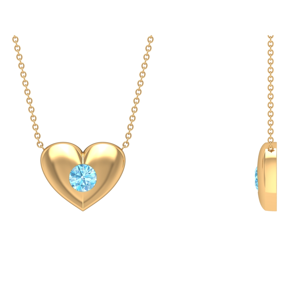 1/2 CT Aquamarine and Gold Heart Pendant Necklace