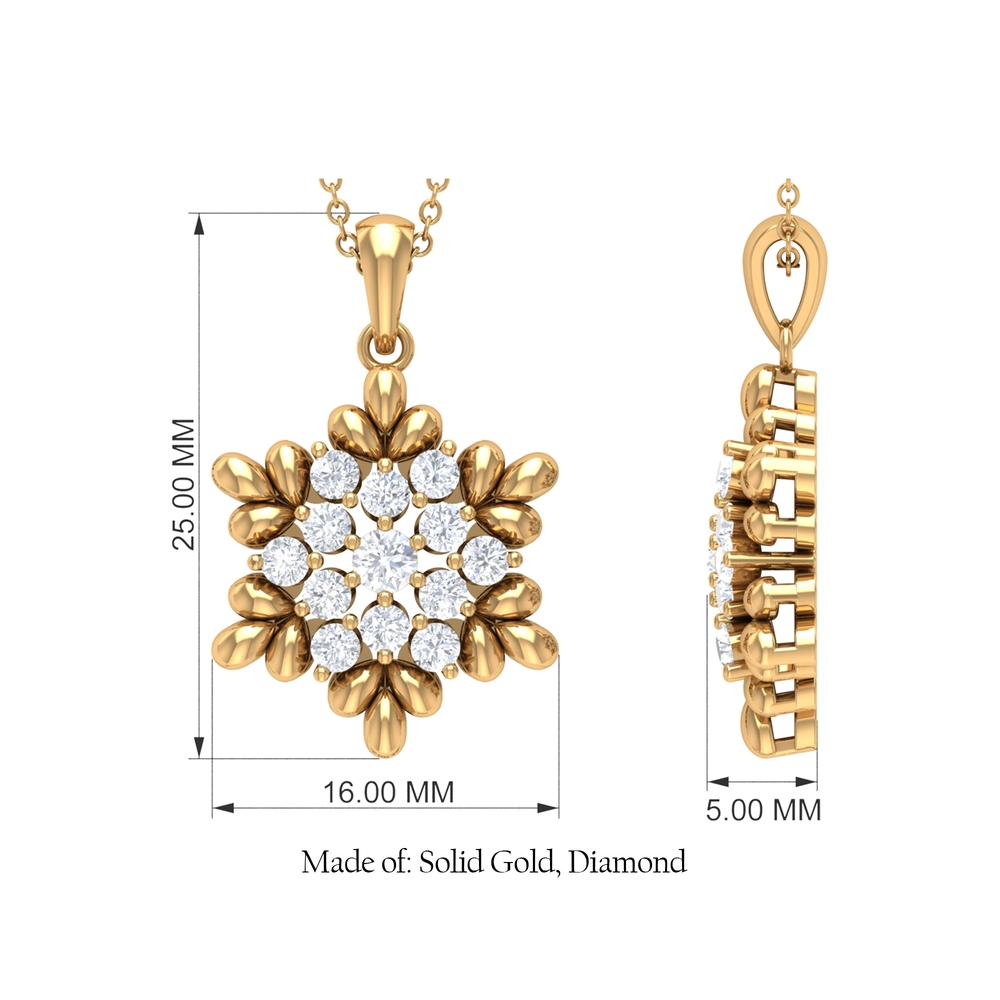 0.75 CT Diamond Cluster Flower Pendant with Gold Leaf Motif