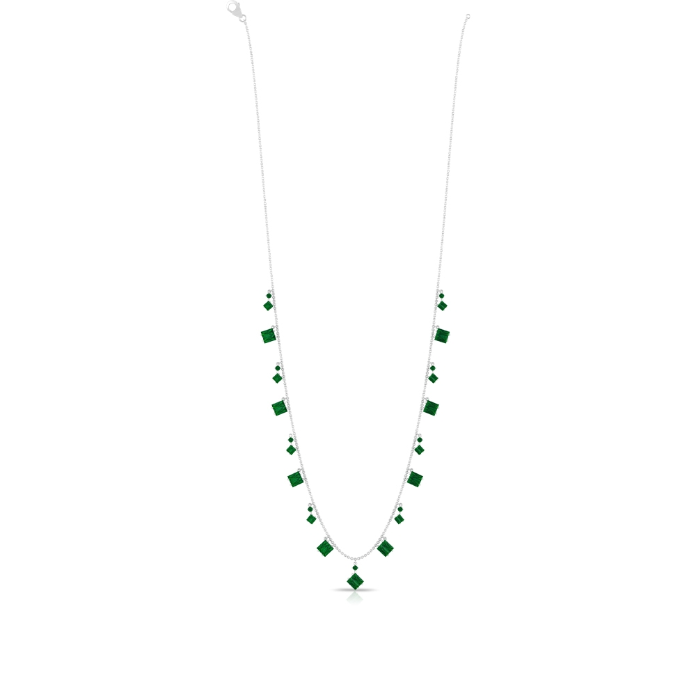 4.75 CT Baguette and Round Emerald Station Chain Necklace