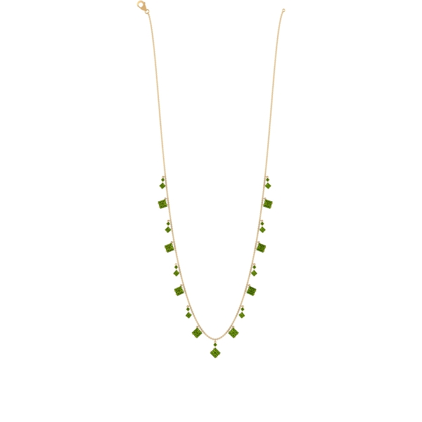5.75 CT Baguette and Round Peridot Station Chain Necklace