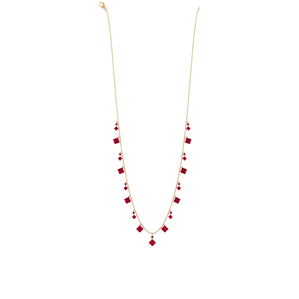 7 CT Baguette and Round Created Ruby Station Chain Necklace
