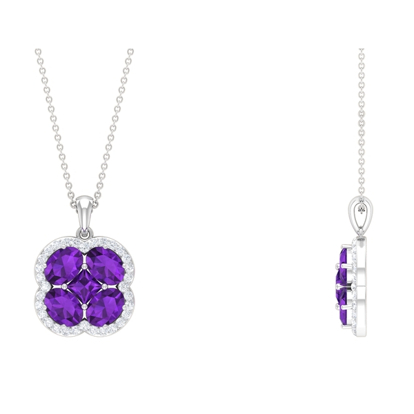 3.75 CT Classic Amethyst and Diamond Floral Cluster Necklace