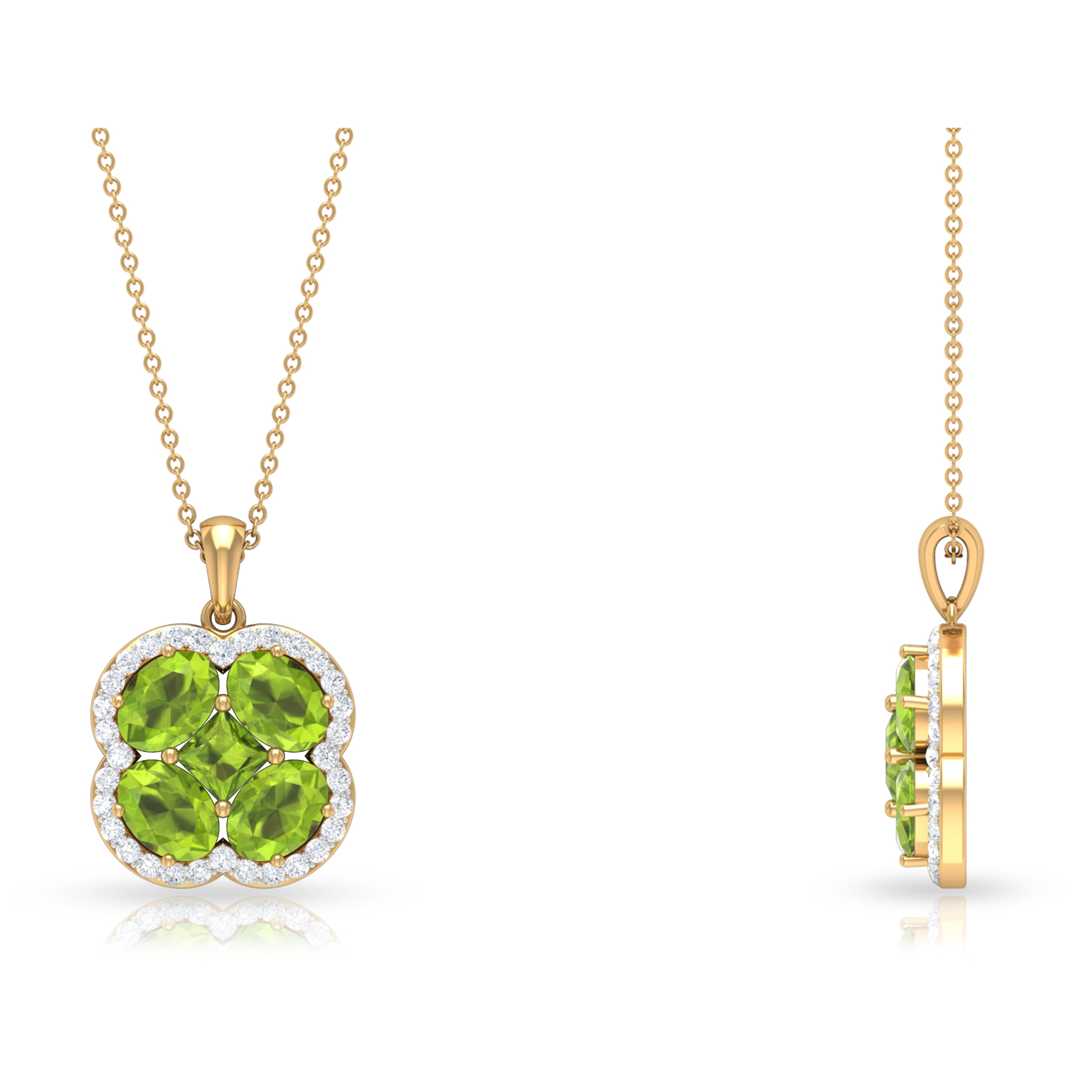 4.25 CT Classic Peridot and Diamond Floral Cluster Necklace