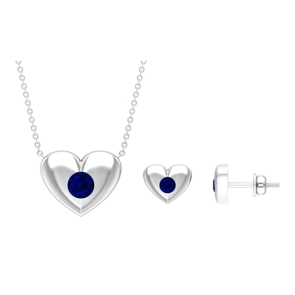 1 CT Blue Sapphire and Gold Heart Jewelry Set