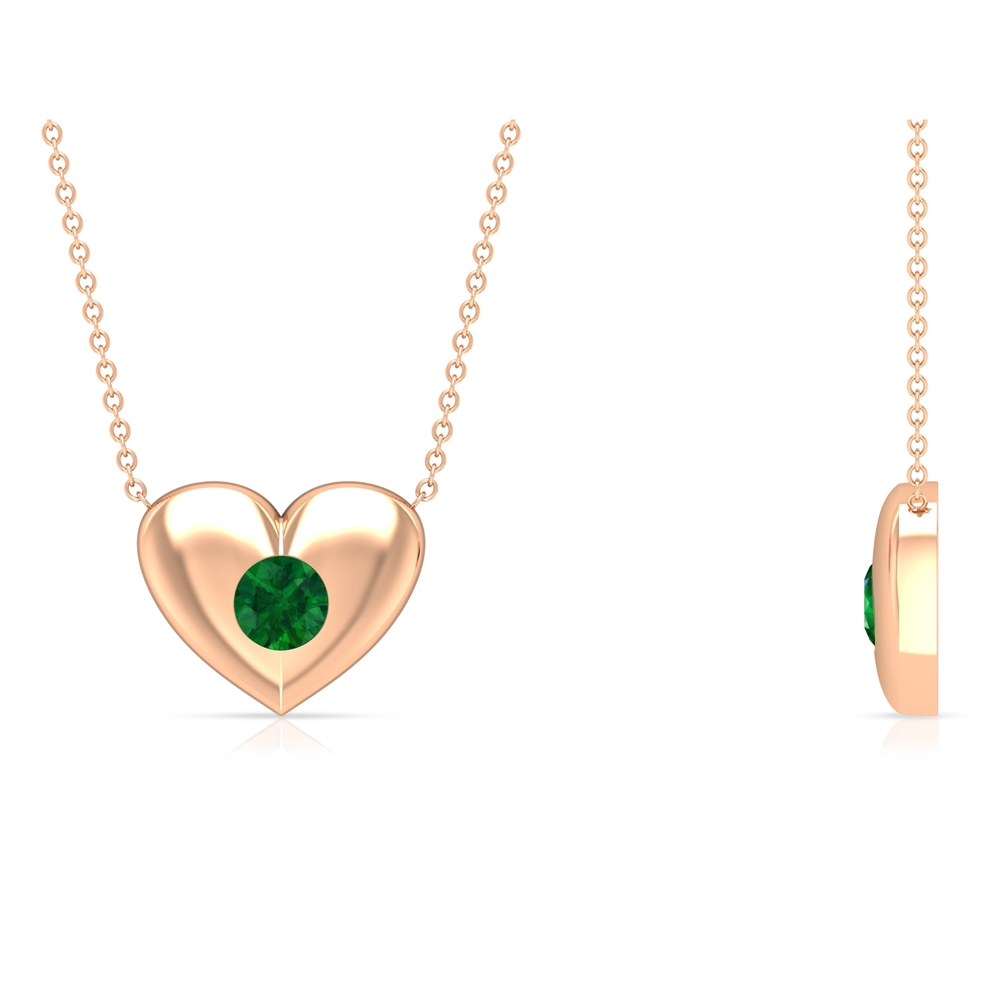 May Birthstone 5 MM Emerald Solitaire Heart Gold Pendant Necklace for Women