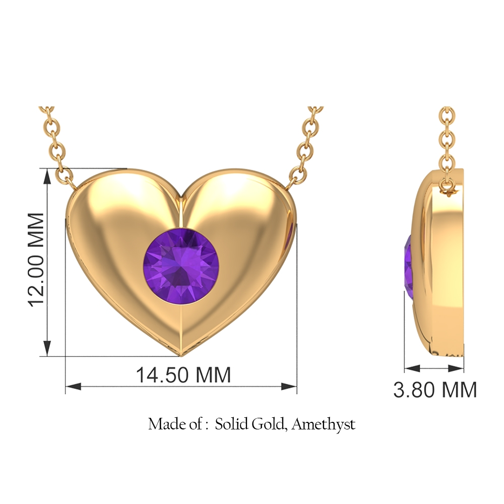 1/2 CT Amethyst and Gold Heart Pendant Necklace