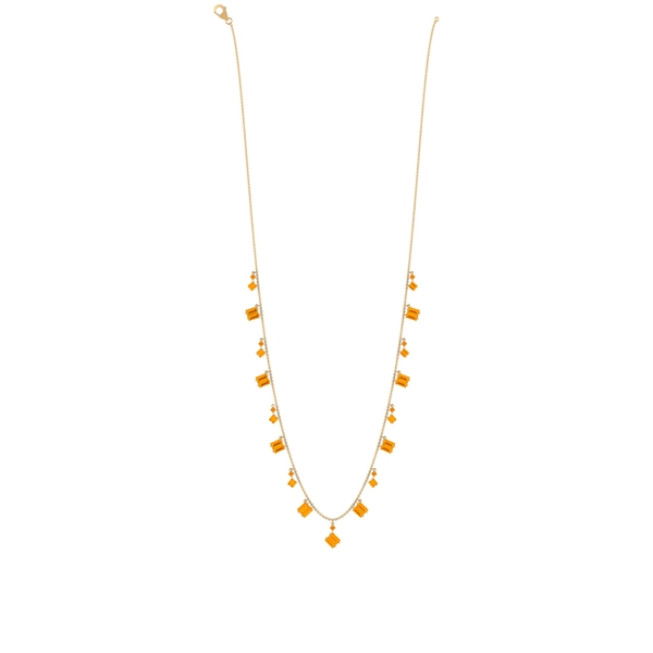 5.75 CT Baguette and Round Created Orange Sapphire Station Chain Necklace