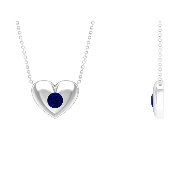 3/4 CT Blue Sapphire and Gold Heart Pendant Necklace