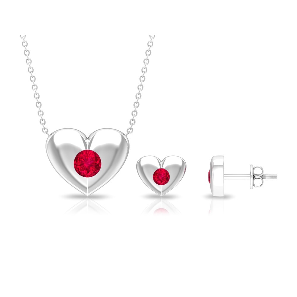 1 CT Ruby and Gold Heart Jewelry Set