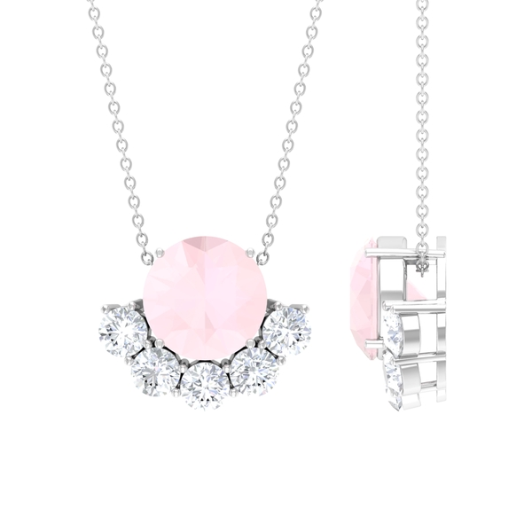4.75 CT Created Pink Onyx and Moissanite Half Halo Pendant Necklace