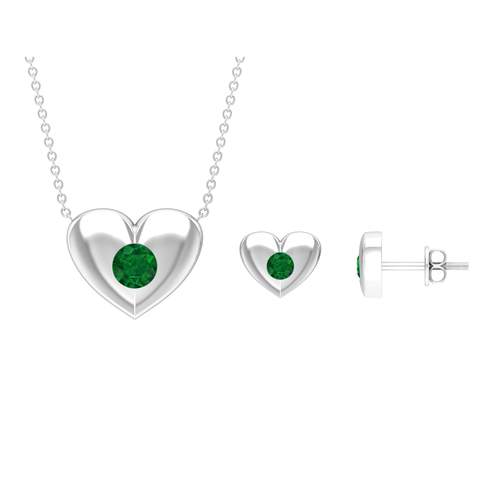 1/2 CT Gypsy Set Emerald and Gold Heart Necklace