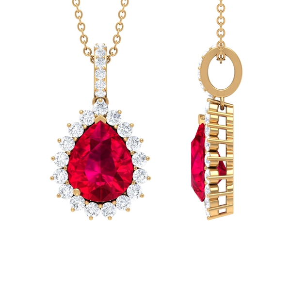 3 CT Classic Pear Cut Ruby and Moissanite Halo Pendant