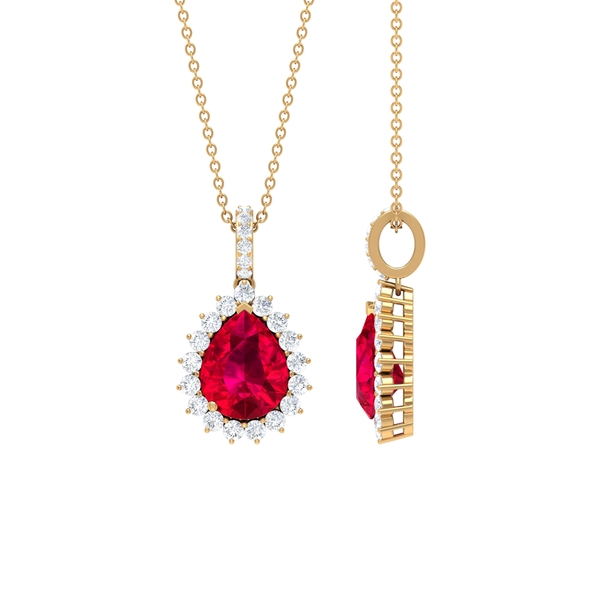 3 CT Classic Pear Cut Created Ruby and Moissanite Halo Pendant