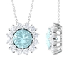 2.75 CT Round Cut Sky Blue Topaz and Moissanite Halo Pendant Necklace