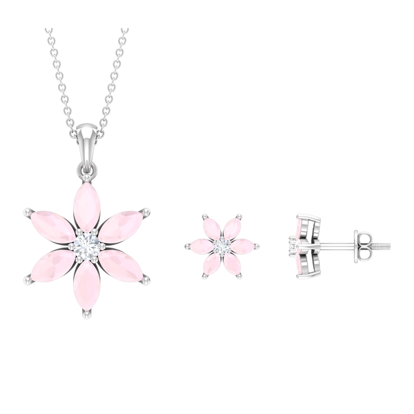 4 CT Moissanite and Created Pink onyx Six Flower Petal Jewelry Set