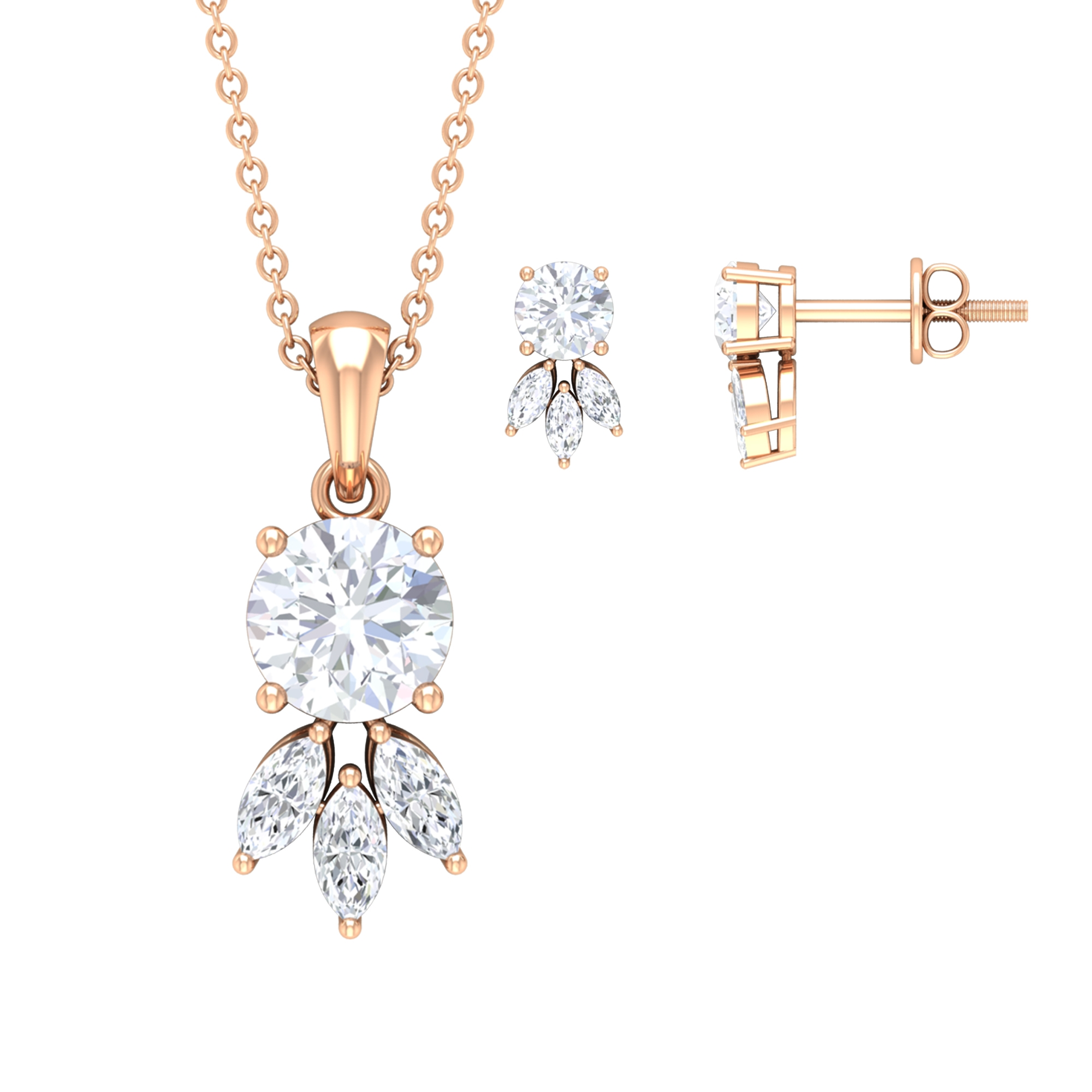 2.50 CT Dainty Moissanite Solitaire and Diamond Pendant Earring Set