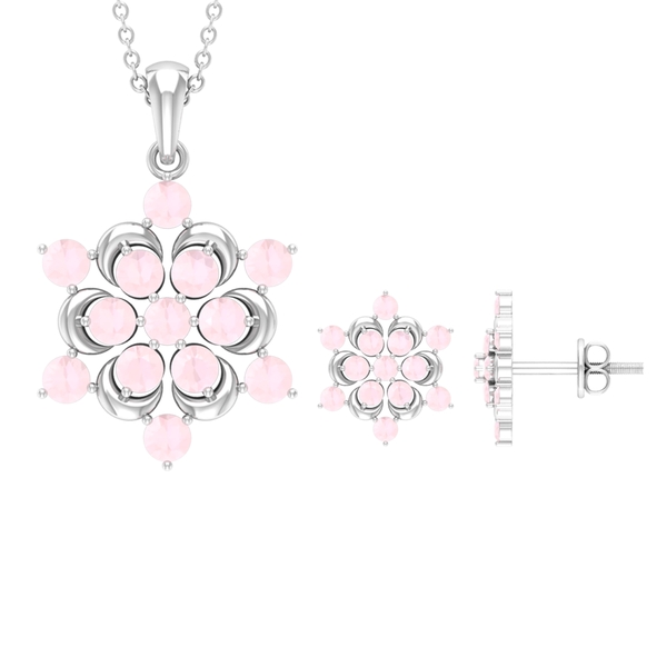 2.25 CT Created Pink Onyx Engraved Gold Flower Jewelry Set