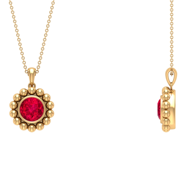 2.25 CT Created Ruby and Beaded Gold Pendant