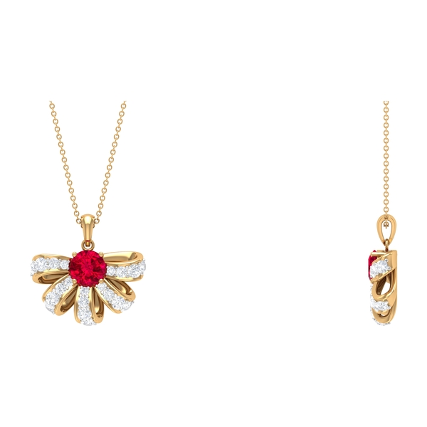 2.75 CT Ruby and Diamond Half Flower Pendant Necklace
