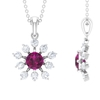 1.50 CT Statement Rhodolite and Moissanite Floral Pendant