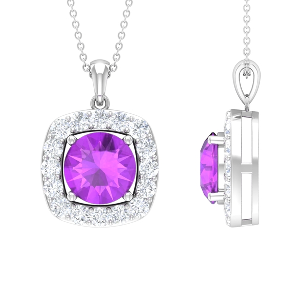 4.75 CT Classic Created Kunzite and Moissanite Halo Pendant Necklace