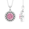 2 CT Pink Tourmaline and Beaded Gold Pendant