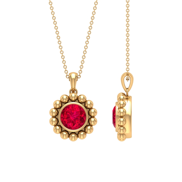 2.25 CT Ruby and Beaded Gold Pendant