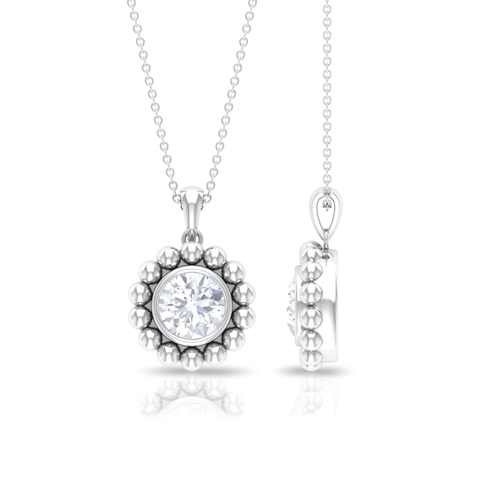 2 CT Moissanite and Beaded Gold Pendant