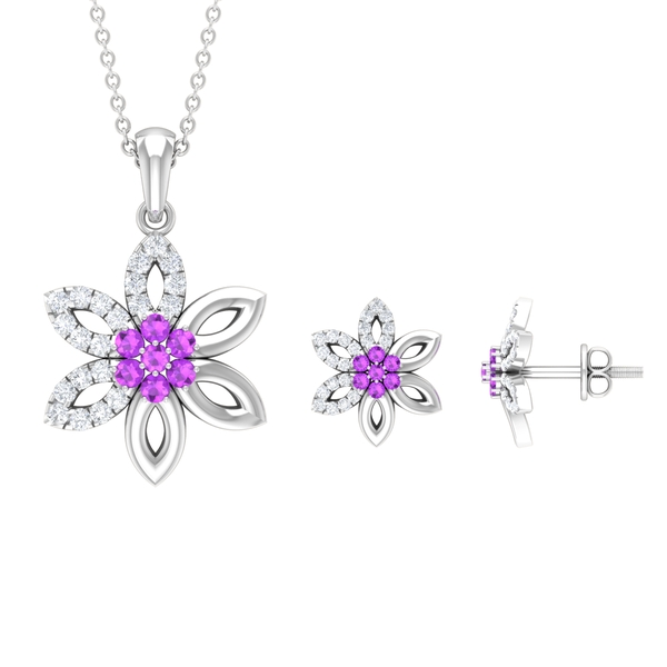 Floral Jewelry Set with 2 CT Created Kunzite and Diamond