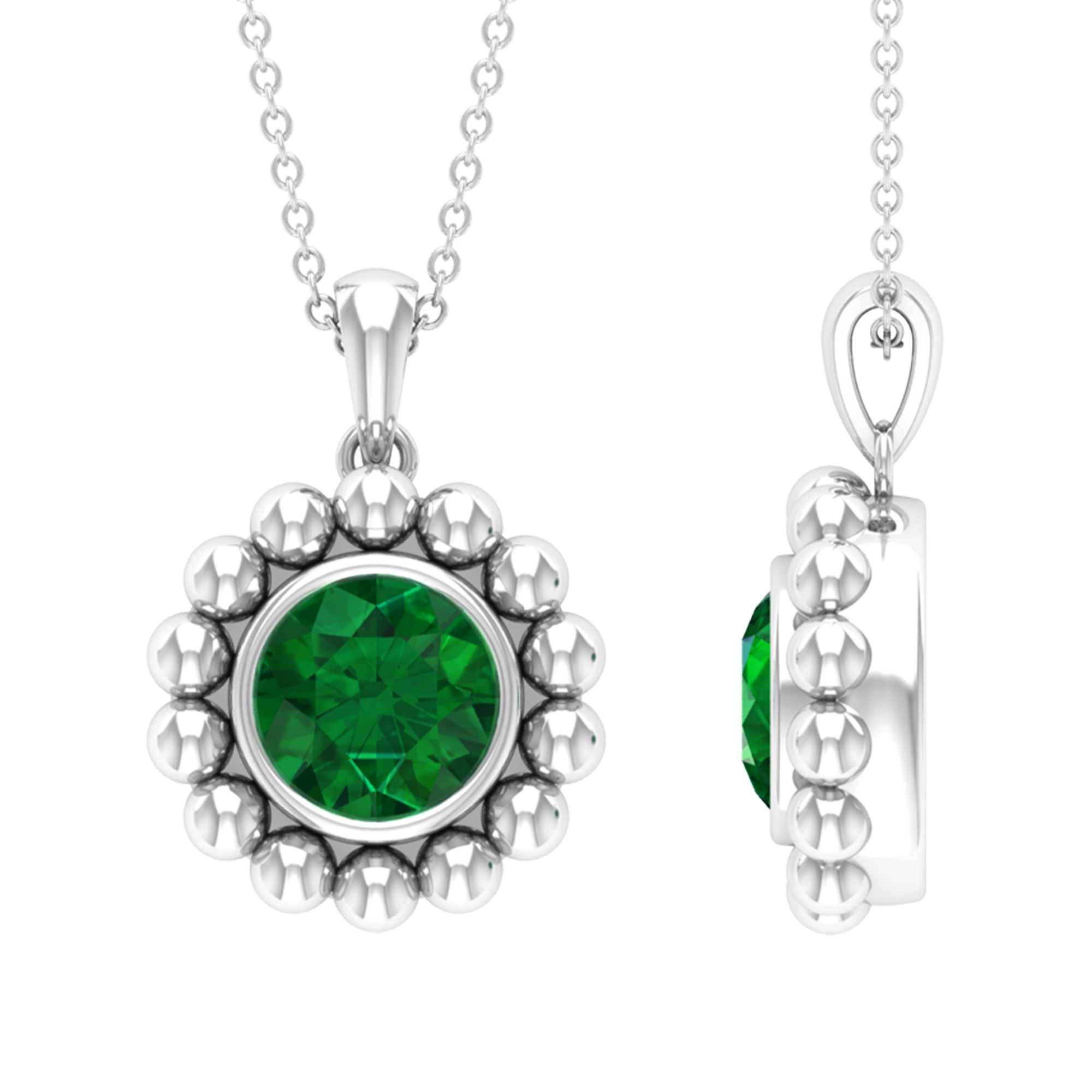 2 CT Emerald and Beaded Gold Pendant