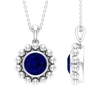 2.25 CT Blue Sapphire and Beaded Gold Pendant
