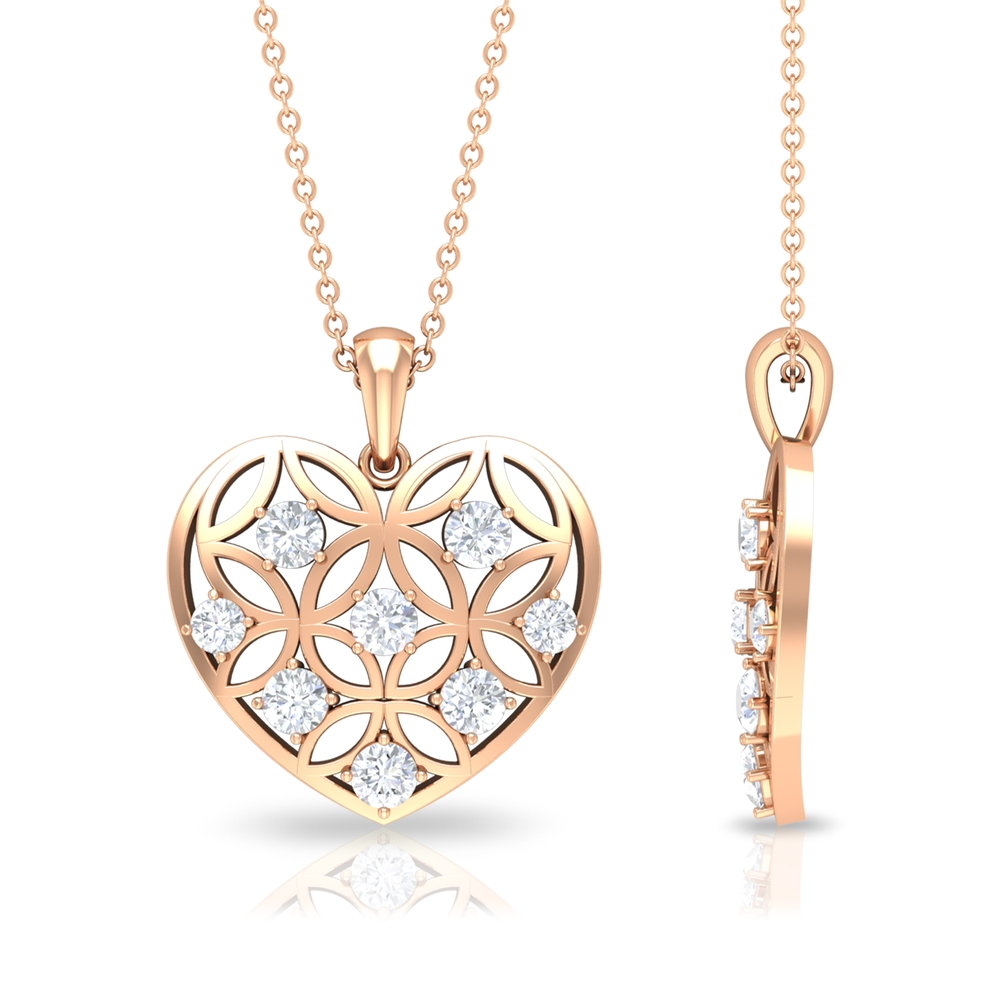 3/4 CT Diamond and Gold Cut Out Heart Pendant Necklace