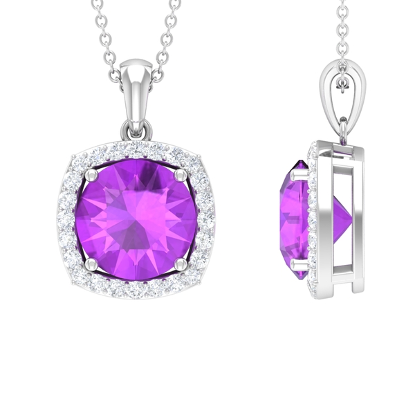 10 MM Classic Solitaire Created Kunzite and Diamond Halo Pendant Necklace