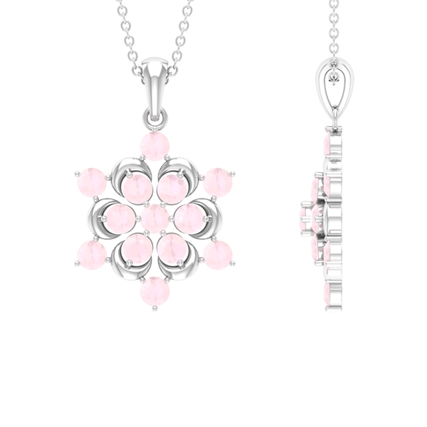 1.50 CT Created Pink Onyx Flower Pendant Necklace
