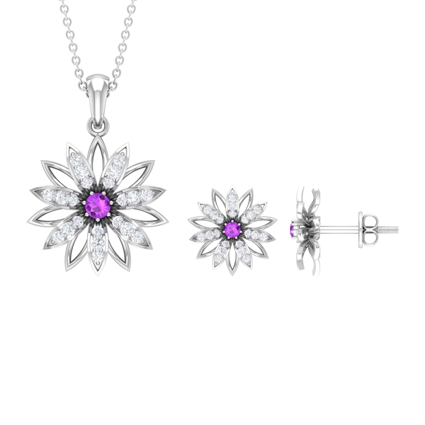 Floral Jewelry Set with 0.75 CT Created Kunzite and Diamond