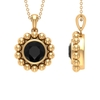 1.75 CT Black Spinel and Beaded Gold Pendant