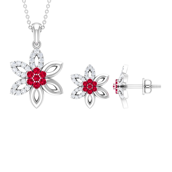 1 CT Created Ruby and Gold Flower Jewelry Set with Diamond