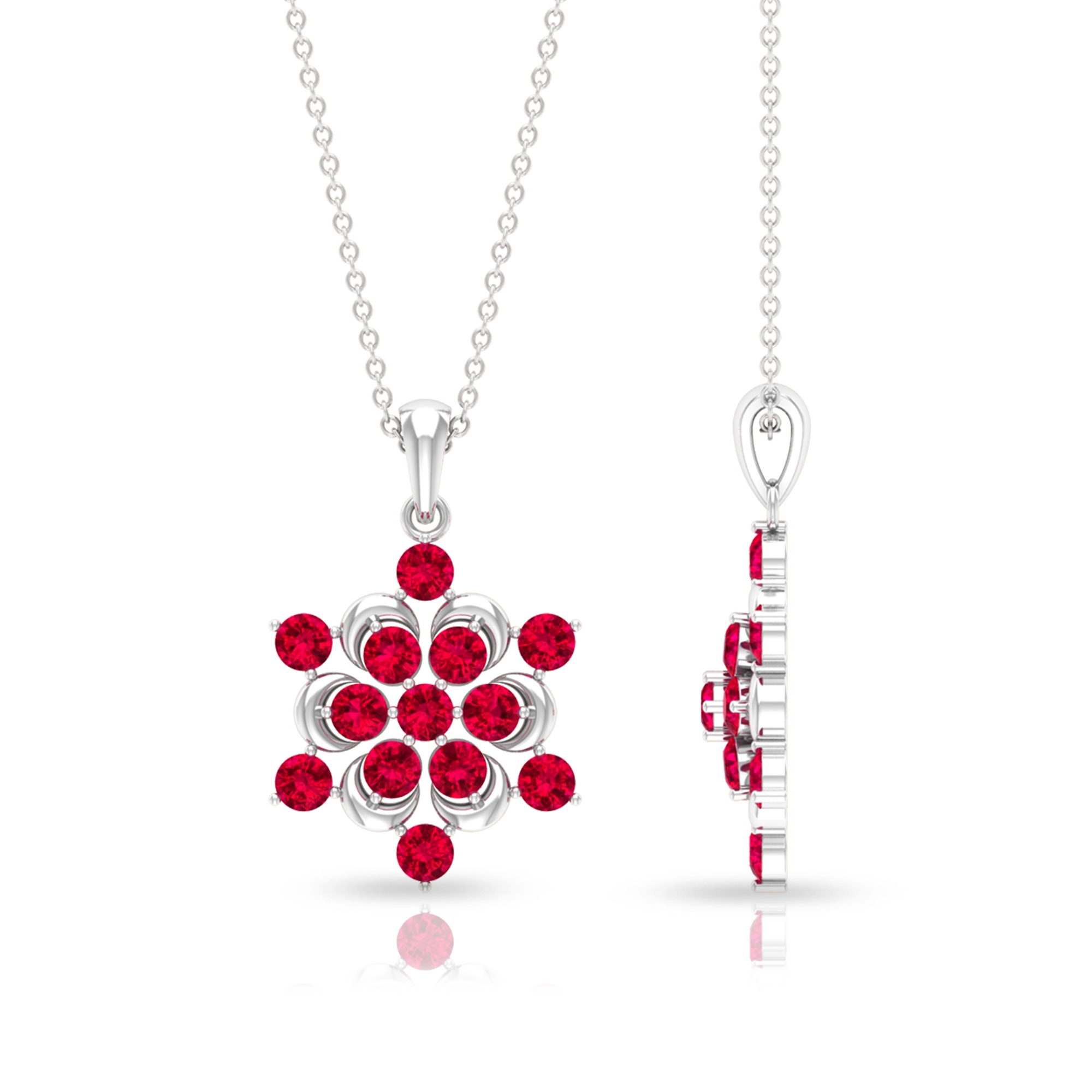 2 CT Ruby Flower Pendant Necklace