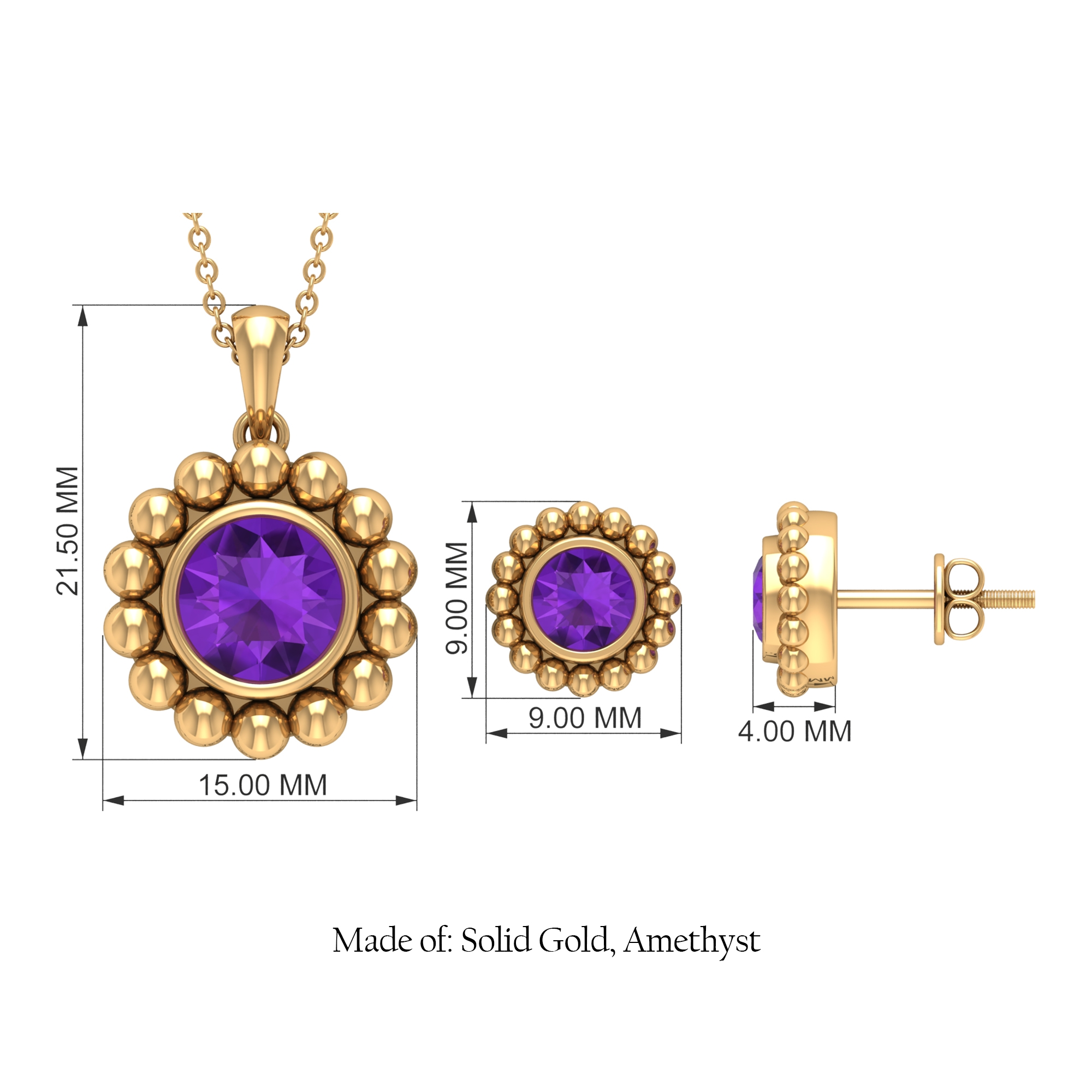 3.50 CT Amethyst and Beaded Gold Jewelry Set