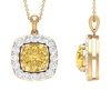 5.25 CT Classic Citrine and Moissanite Halo Pendant Necklace