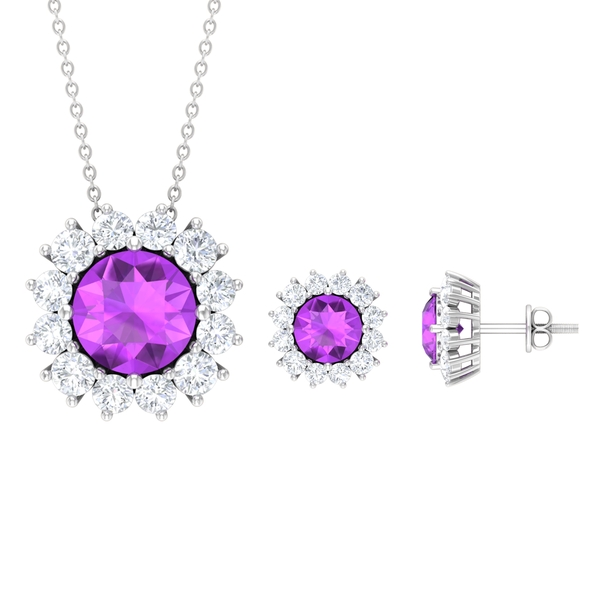 7 CT Created Kunzite Solitaire Jewelry Set with Moissanite Halo