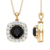 5.25 CT Classic Black Spinel Sapphire and Moissanite Halo Pendant Necklace