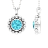 2 CT Swiss Blue Topaz and Beaded Gold Pendant