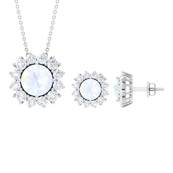 6.50 CT Created Rainbow Moonstone Solitaire Jewelry Set with Moissanite Halo