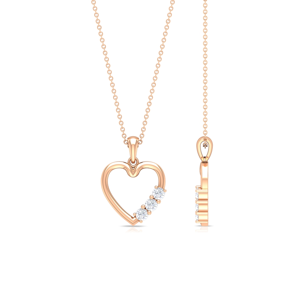1/4 CT Simple Moissanite and Gold Heart Pendant