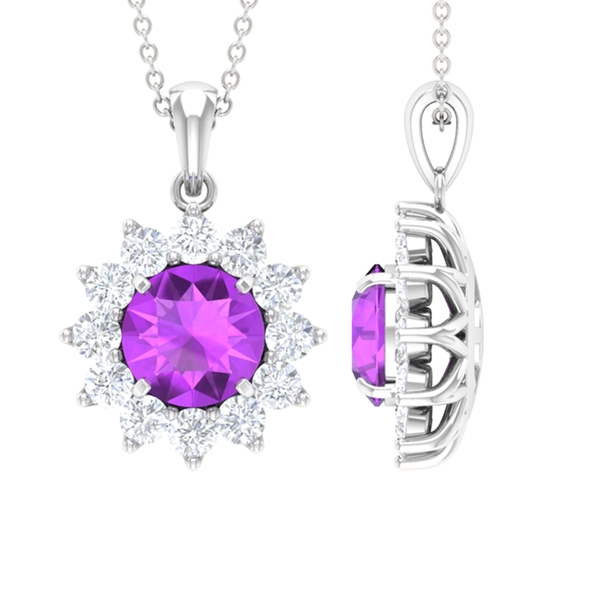 Floral Halo Pendant with 3.25 CT Created Kunzite and Moissanite