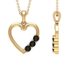 1/4 CT Simple Black Onyx and Gold Heart Pendant