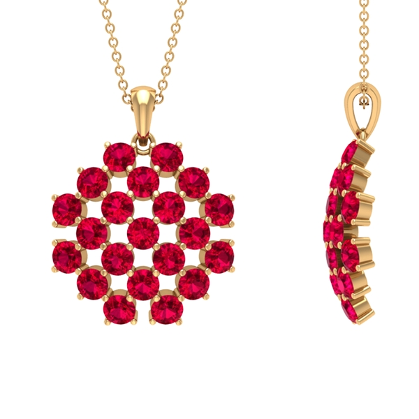 3.50 CT Created Ruby Simple Cluster Pendant Necklace
