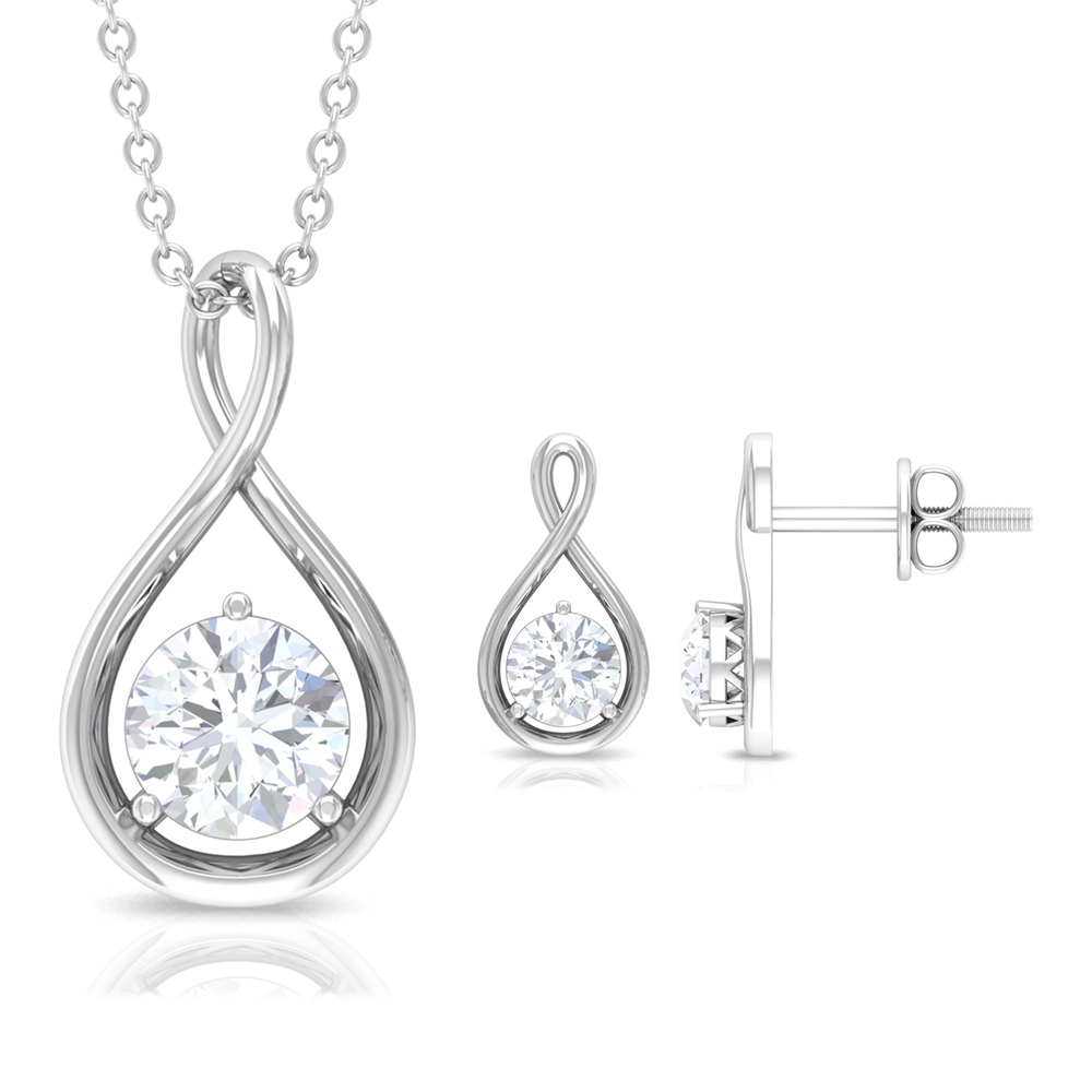 3/4 CT Round Cut Diamond Solitaire and Gold Infinity Pendant